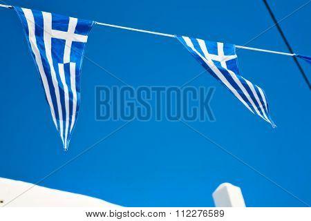 Waving Greece   In The Blue Sky   Flagpole