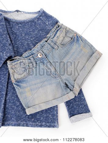 Blue denim shorts with pullover isolated on white background