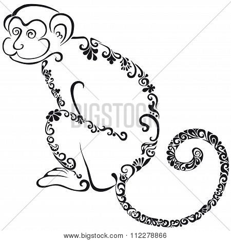 Silhouette of the monkey.Black silhouette on a white background.