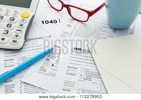 Tax Form On Work Desk