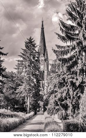 Vintage Hdr Shot Of A Park With Church In Berlin