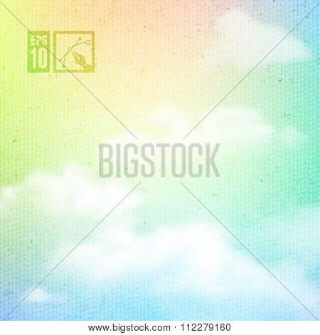 Rainbow Clouds Background.