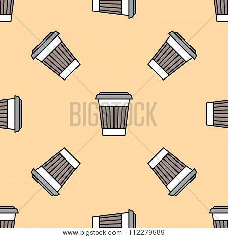 Coffee Paper Cup Colored Seamless Pattern.