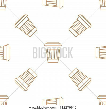 Coffee Paper Cup Outline Seamless Pattern.