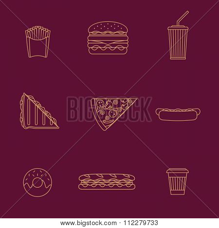 Gold Outline Various Fast Food Icons Collection.