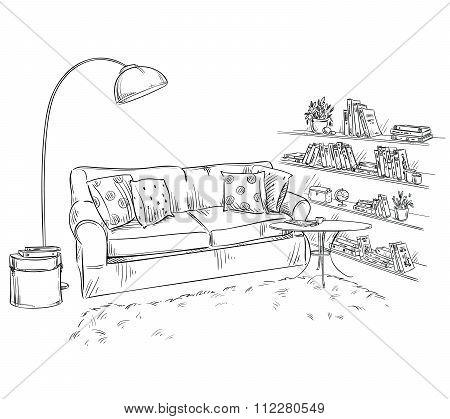 hand drawn interior element. Comfortable sofa, lamp and bookshelves