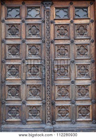 ZAGREB, CROATIA - FEBRUARY 21: Door, west portal of the church of St. Mark in Zagreb, Croatia on February 21, 2015