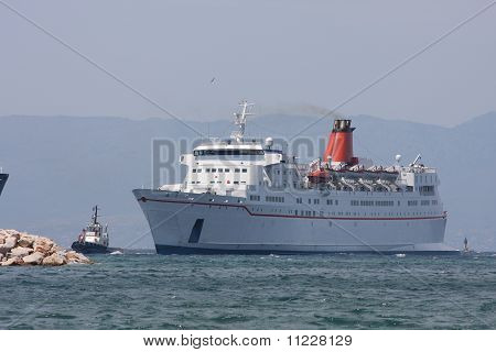 Passenger car ferry and tug boat