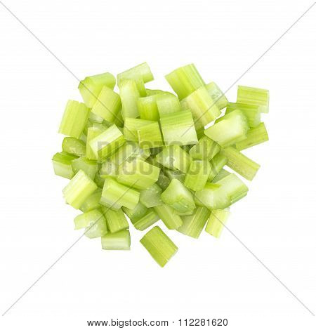 Fresh Celery Dice Cut Top View