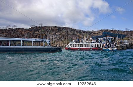 Galapagos, Baltra, Ecuador - November 15, 2015: Crossing Between