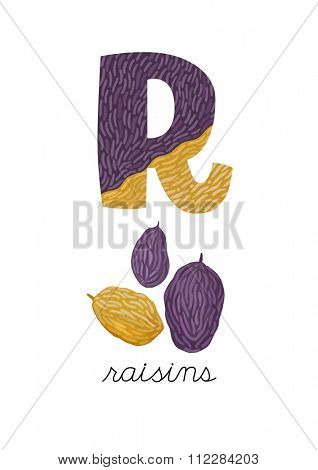 Letter R is for Raisins. These ABC illustrations with associated picture are perfect for postcards and interior decoration.