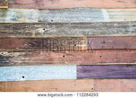 Multicolored teak wood wall background ,use for background.