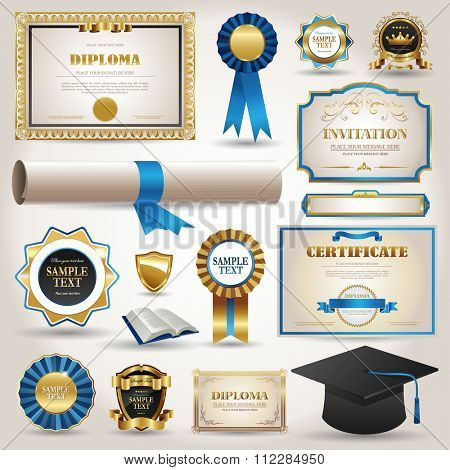 Elegant Graduation and certificate diploma elements collection