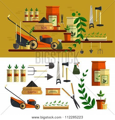 Gardening tools illustration. Vector icon set flat design. Work in garden concept. Lawn mower, soil,