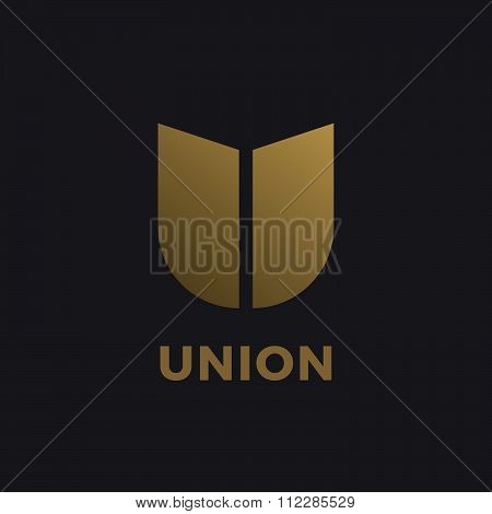 Letter U Shield Logo Icon Design Template Elements