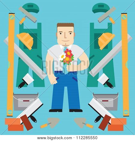 Builder With Flowers. Vector.