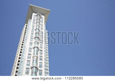 MOSCOW - MAY 20, 2014: The facade of a modern apartment complex House in Sokolniki in high-tech style