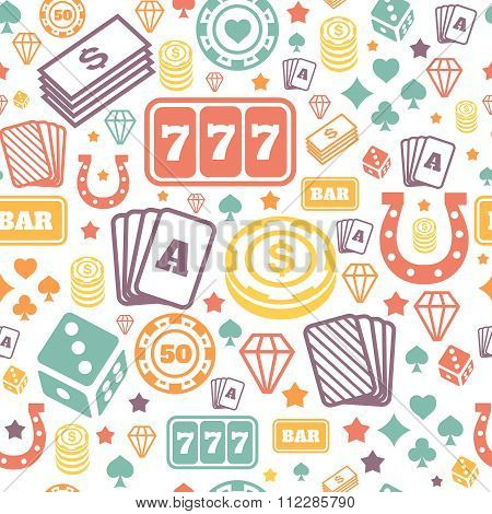 Playing chips and cards seamless pattern. Background vector. Game  casino icons