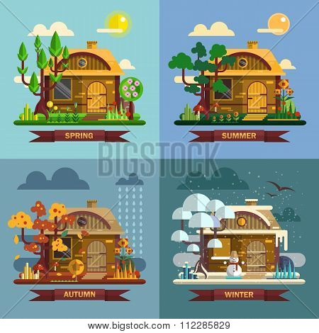 House in different times of the year. Four seasons concept, summer, fall, autumn, winter. Vector set