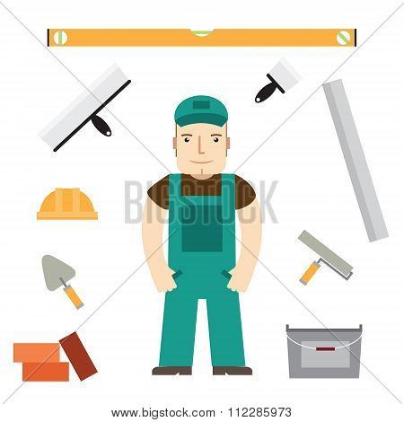 Builder And Buildaing Tools. Vector.