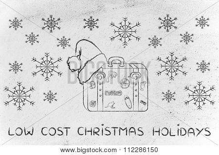 Luggage With Santa Hat, With Text Low Cost Chrsitmas Holidays