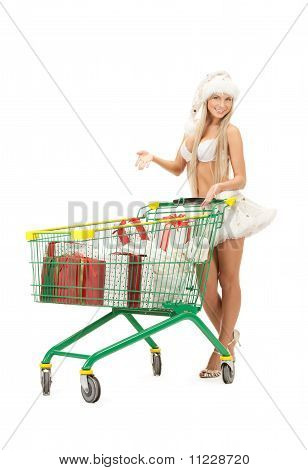 Cheerful Santa Helper With Shopping Bags