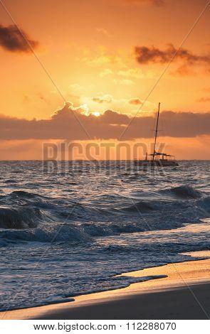 Red Sunrise. Atlantic Ocean. Dominican Republic
