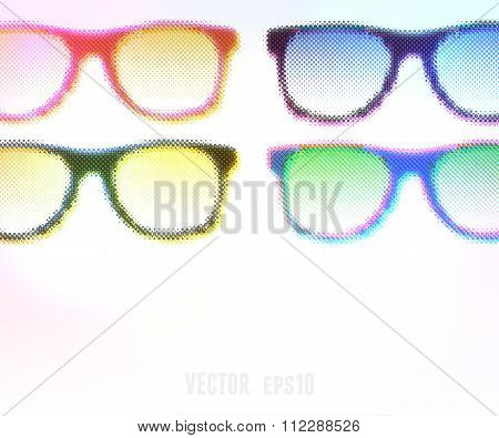 Halftone Glasses Background. Vector Illustration, Editable.