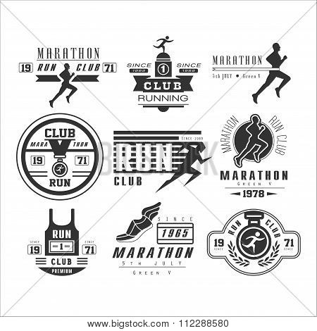 Running club labels, emblems and design elements vector