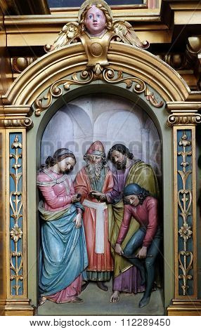 ZAGREB, CROATIA - MAY 28: Engagement of the Virgin Mary, altar in the Basilica of the Sacred Heart of Jesus in Zagreb, Croatia on May 28, 2015