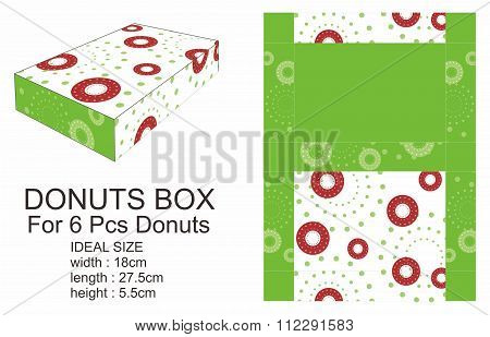 Dark Red And Green Donuts Box
