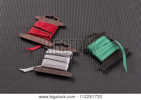 Colored gift ribbon. Three colors.