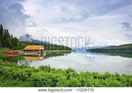 Boathouse On Mountain Lake
