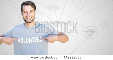 Happy volunteer in the park against interface with graphs
