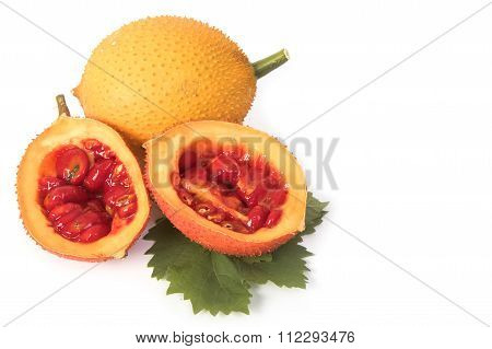 Gac Fruit, Baby Jackfruit, Spiny Bitter Gourd, Sweet Grourd Or Cochinchin Gourd Isolated On White Ba