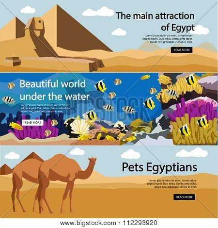 Travel to Egypt banner vector set. Tourist attractions and landmarks. Tourism concept with pyramids,