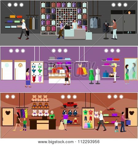 People shopping in a mall concept. Store Interior. Colorful vector illustration. Design elements and