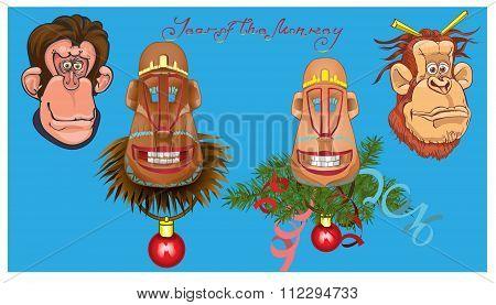 Vector illustration of monkeys.