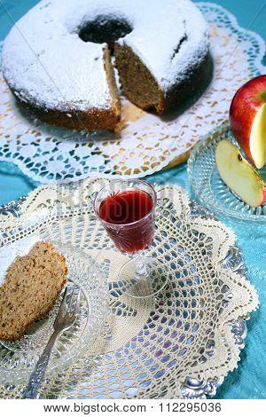 apple cake with homemade  liquor treat