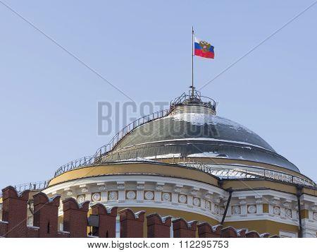 Flag Of The Russian President On The Senate Kremlin Palace