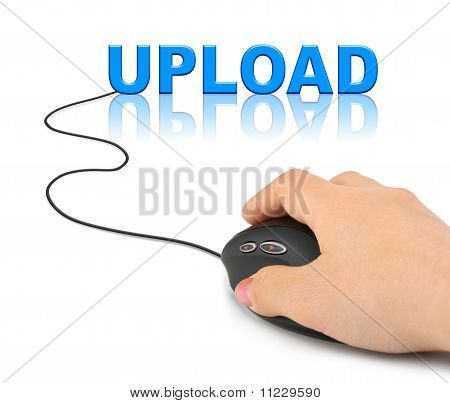 Hand With Computer Mouse And Word Upload