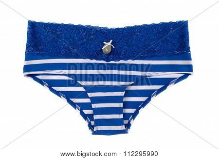 Blue Striped Panties With Tag Size L.