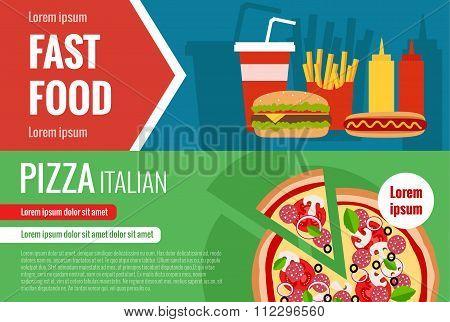 Fast food flat vector horizontal banner set