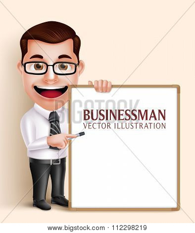 Professional Business Man Vector Character Holding Blank White Board