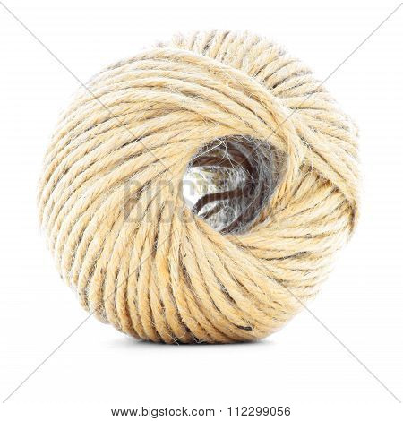 Cord Skein, Jute Roll, Braided Ball Isolated On White Background