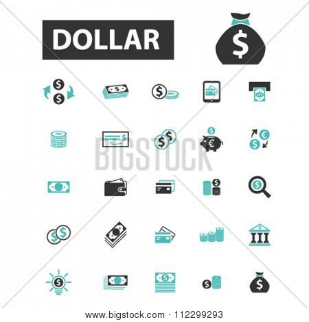 dollar icon, cash, coins, bankontes, cards, cash machine, money, payment, atm, dollar sign, bank, banking icons, signs vector concept set for infographics, mobile, website, application