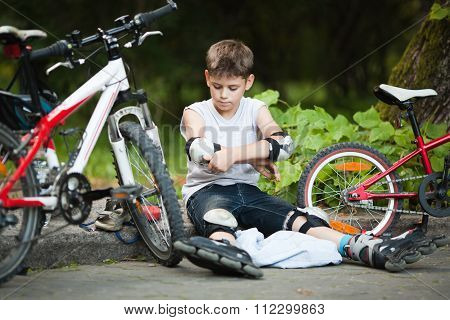 Child Outdoors In Summer