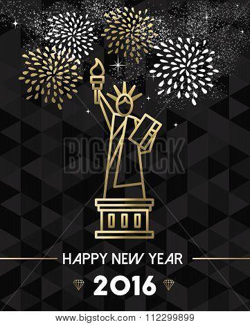 New Year 2016 Nyc Usa Travel Statue Liberty Gold