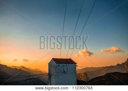 Old electrical Transformer booth on the mountains
