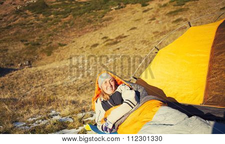 Girl In A Sleeping Bag.